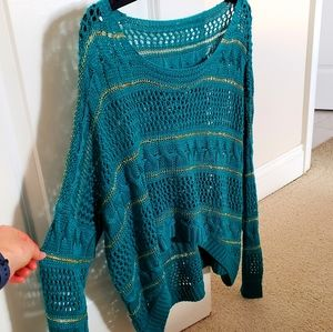 Sweaters - Gold/ Teal / Turquoise Hi-Low Crochet Sweater